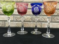 4 German Echt Bleikristall Bohemian Wine Glass Cut to Clear Crystal Multi Color