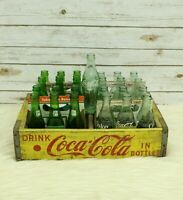 Vintage Yellow Coca Cola Wood Crate Chattanooga Coke And 7up Bottles Bundle