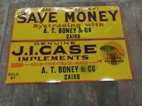 Rare JI CASE Boney Cairo Embossed Tin Tacker Signs Farm Tractor Plow Vintage Old
