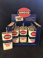 OVAL LEAD TOP AMOCO DISPLAY BOX OF 12 HOUSEHOLD HANDY OILER OIL CAN 3 OZ FULL
