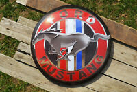 Ford Mustang Domed Button Tin Metal Sign - Tri-Bar Running Horse - Dealership
