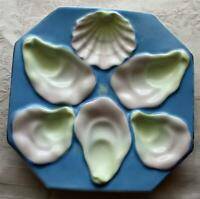 Antique Octagonal Sky Blue Oyster Plate, Shell Shaped Sauce Well