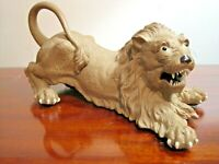 LION ART POTTERY SCULPTURE FIGURINE REALISTIC