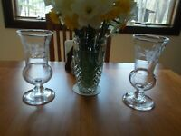 Pairpoint Glass Etched Vases, Pair