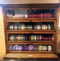 Antique Oak Ribbon Cabinet  General Store Display  tilt out drawers  AN Russell