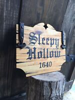 Halloween Old Sleepy Hollow 1640 Colonial Rustic Sign Painting Antique Look Art