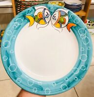 Vietri pottery- 10 Inch Dinner Plate Fish Pattern-Made/Painted by hand in Italy