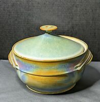 Vintage Studio Art Pottery Covered Dish Signd by Artist mid century modern style