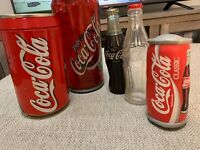 Lot of 5 Vintage Coca Cola Radio, Bottle & Can bank, Coin organizer, plush toy