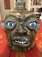 Charlie West Face Jug Primitive Georgia Pottery Southern Folk Art