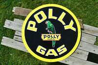 Polly Gas Embossed Tin Metal Sign - Gasoline - Wilshire Oil Company - Gulf