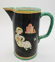 C.A.S. VIETRI Italy Pottery Pitcher Aqua Black Yellow - Figural Village Scene