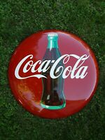 Vintage 1950's 36 Inch Coca Cola Button Sign, Coke Button, Soda Sign, AM32