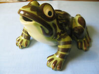 VINTAGE LARGE 8quot; OPEN MOUTH BRUSH MCCOY POTTERY SPOTTED YARD GARDEN FROG MINT C