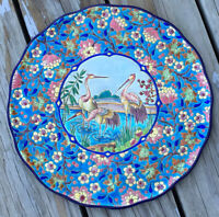 """Art Deco 13"""" French Emaux de Longwy Pottery Bird amp; Floral Plate Charger France"""