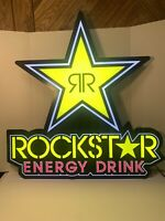 Rockstar Energy Drink LED Light Up Hanging Sign 30x28