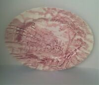 Royal Wessex Red Transferware Carriage Horse Oval Serving Platter
