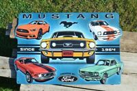 Ford Mustang Embossed Tin Metal Sign - Tri-Bar Running Horse - Since 1964 - Pony