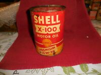 Vintage Shell X-100 Motor Oil Quart Can Empty Shell Oil Co. 5 1/2