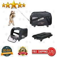 Pet Cart Rolling Carrier Soft Sided Collapsible Folding Travel Luggage backpack
