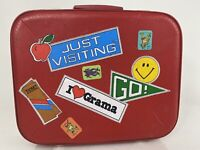 Vintage Red Kids Childs Luggage suitcase Hardshell Clamshell Overnight