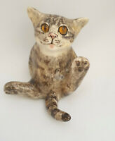 **Winstanley Pottery Size 2 Cat Kitten Sitting Glass Eyes Signed Purrfect (A)**