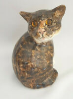 **Winstanley Pottery Size 2 Tabby Looking Back Glass Eyes Signed Purrfect**