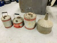 Lot Of 4 Antique Vintage Galvanized Metal Fuel/Gas/Oil Cans And Funnel