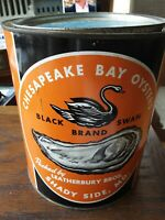 Chesapeake Bay OYSTERS 1 GALLON CAN/TIN Shadyside MD Vintage Collectible