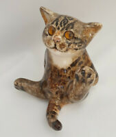 **Winstanley Pottery Size 2 Cat Kitten Sitting Glass Eyes Signed Purrfect (B)**