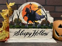 Halloween Sleepy Hollow Headless Horseman Table Sign Painting Old Antique Look