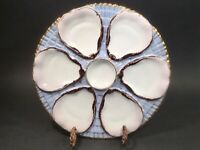 Antique Oyster Plate German 6 Oyster Well Porcelain Oysters on Seaweed c.1800's