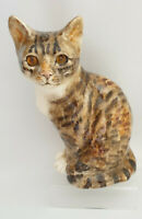 **Winstanley Pottery Size 4 Tabby Cat Sitting Glass Eyes Signed Purrfect**