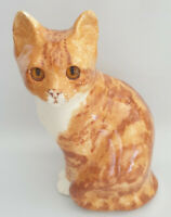 **Winstanley Pottery Size 4 Ginger Cat Sitting Glass Eyes Signed Purrfect**