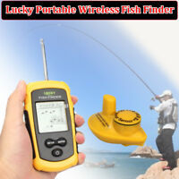 Lucky Portable 100M Wireless Fish Finder Alarm 40M/130FT Sonar Depth Green LED