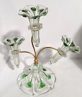 """Very Unusual Art Nouveau Epergne 3 Horn Green Glass 15"""""""