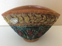 """Toscany Italy Mid Century Modern Abstract Pottery Vase Multi Color 4 1 2"""""""