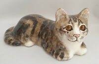 **Jenny Winstanley Pottery Size 4 Cathedral Glass Eyes Signed Purrfect**