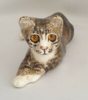 **Jenny Winstanley Pottery Cute Cat Size 3 Cathedral Glass Eyes Signed Purrfect