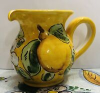 Vietri pottery-4 Inch Tall  Pitcher With Lemons.Made/painted by hand-Italy