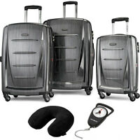 Samsonite Winfield 2 Fashion Hardside 3Pcs Spinner Set Charcoal + Pillow