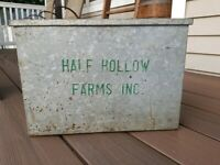 Vintage Half Hollow Farms Dairy Galvanized Metal Milk Box