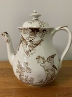 Antique VTG Brown Transferware Teapot with. BIRDS and LEAVES 6/81 Brownfield