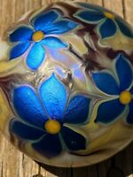 1975 Orient & Flume Blue Flowers Irridized Art Glass Paperweight Signed