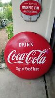 "1950's Coke Button 24"" Porcelain CURB SIGN Drink Coca Cola Sign of Good Taste"