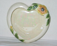 Vintage Vallona Starr Heart Shaped Dish w/ Embossed Floral Design