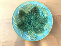 Turquoise George Jones Majolica Maple Leaf and Fern Plate