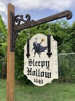 Halloween Old Sleepy Hollow Headless Horseman Hanging Sign Painting Antique Look