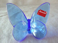 Baccarat Crystal France Blue Lucky Butterfly with Sticker & Double Halllmark