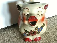 SHAWNEE SMILEY PIG PITCHER GOLD TRIM ---  LARGE  ---  PERFECT